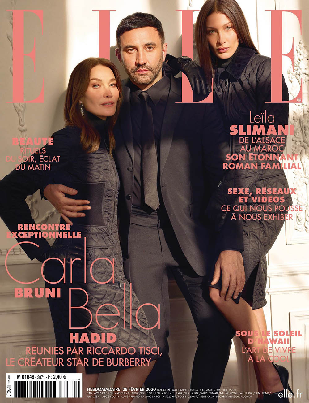 Riccardo Tisci, Carla Bruni and Bella Hadid cover Elle France February 28th, 2020 by Mark Seliger