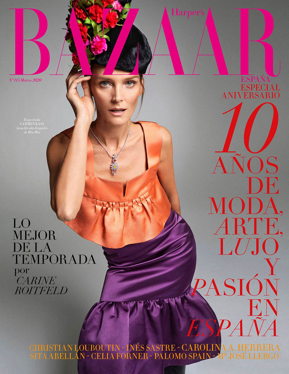 Carmen Kass covers Harper's Bazaar Spain March 2020 by Xavi Gordo