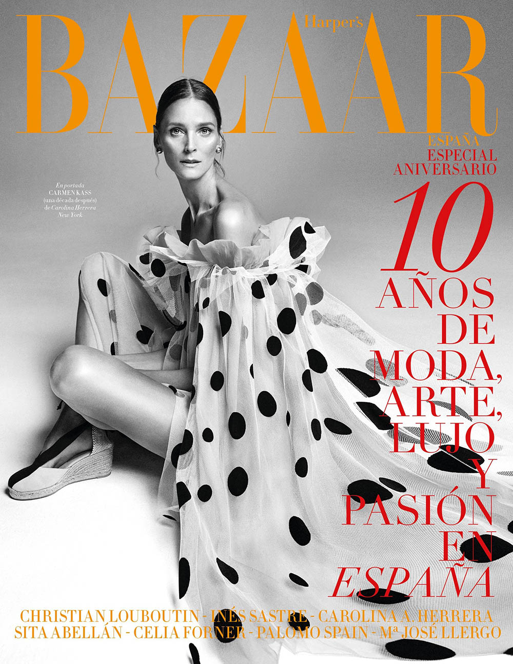 Carmen Kass covers Harper's Bazaar Spain March 2020 by Xavi Gordo