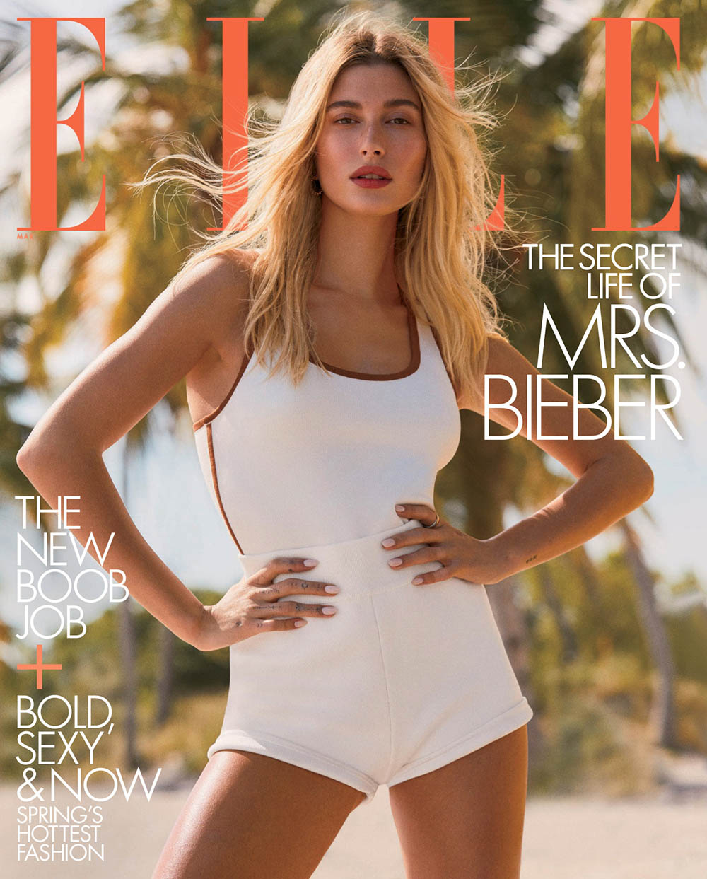 Hailey Baldwin covers Elle US March 2020 by Zoey Grossman
