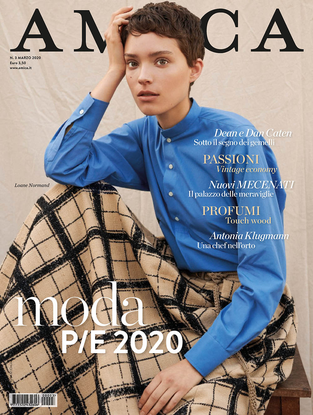 Loane Normand covers Amica Magazine March 2020 by Frederico Martins