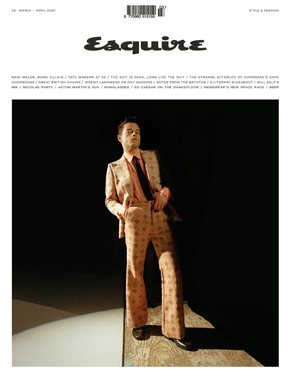 Rami Malek covers Esquire UK March/April 2020 by Dexter Navy