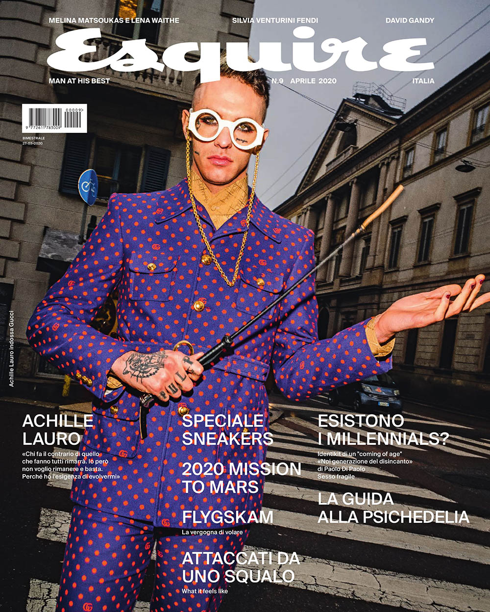 Achille Lauro covers Esquire Italia April 2020 by Bruce Gilden