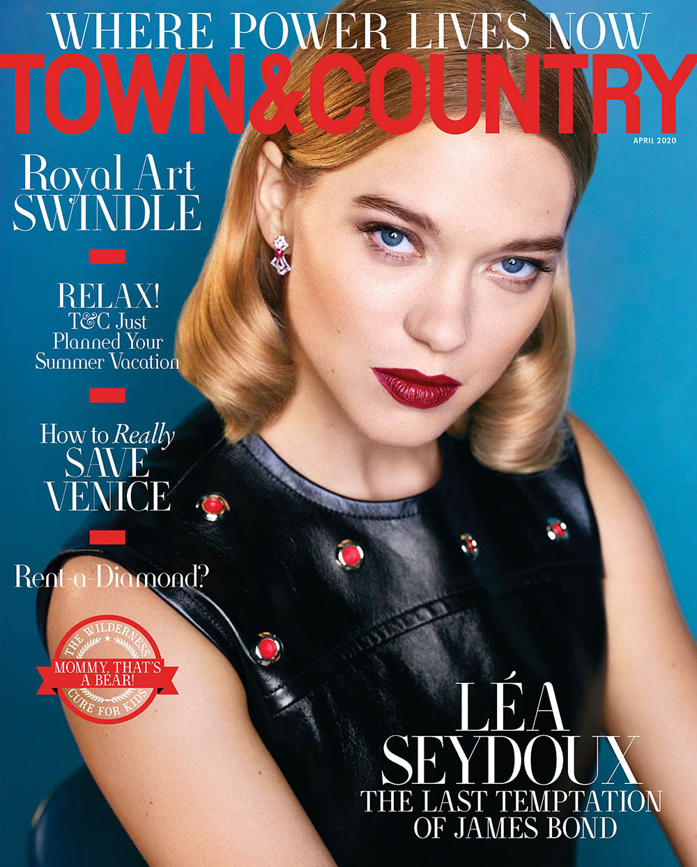 Léa Seydoux covers Town & Country April 2020 by Max Vadukul