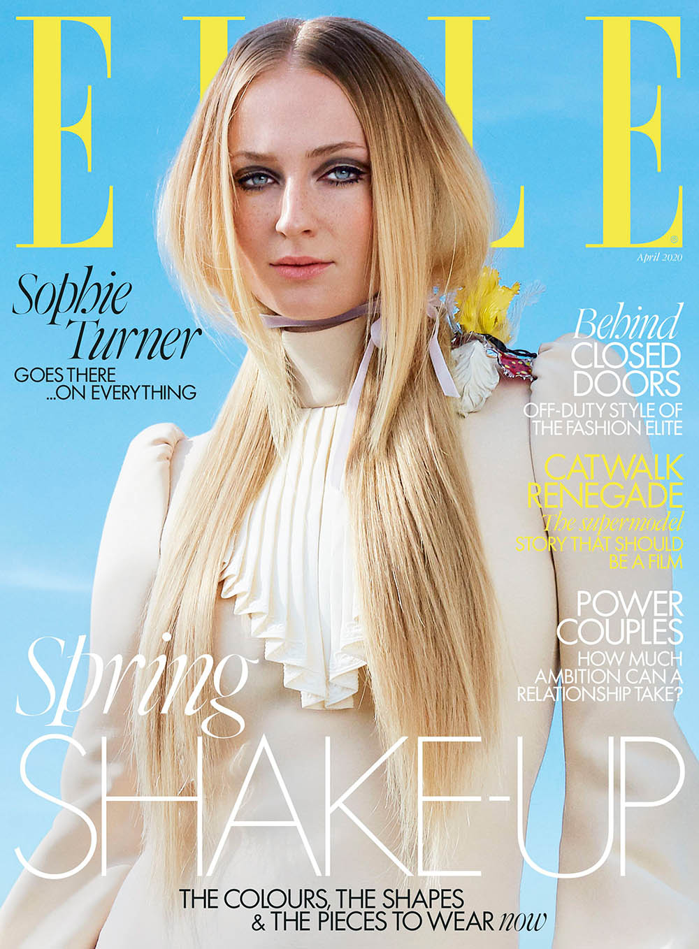 Sophie Turner covers Elle US and Elle UK April 2020 by Arthur Elgort