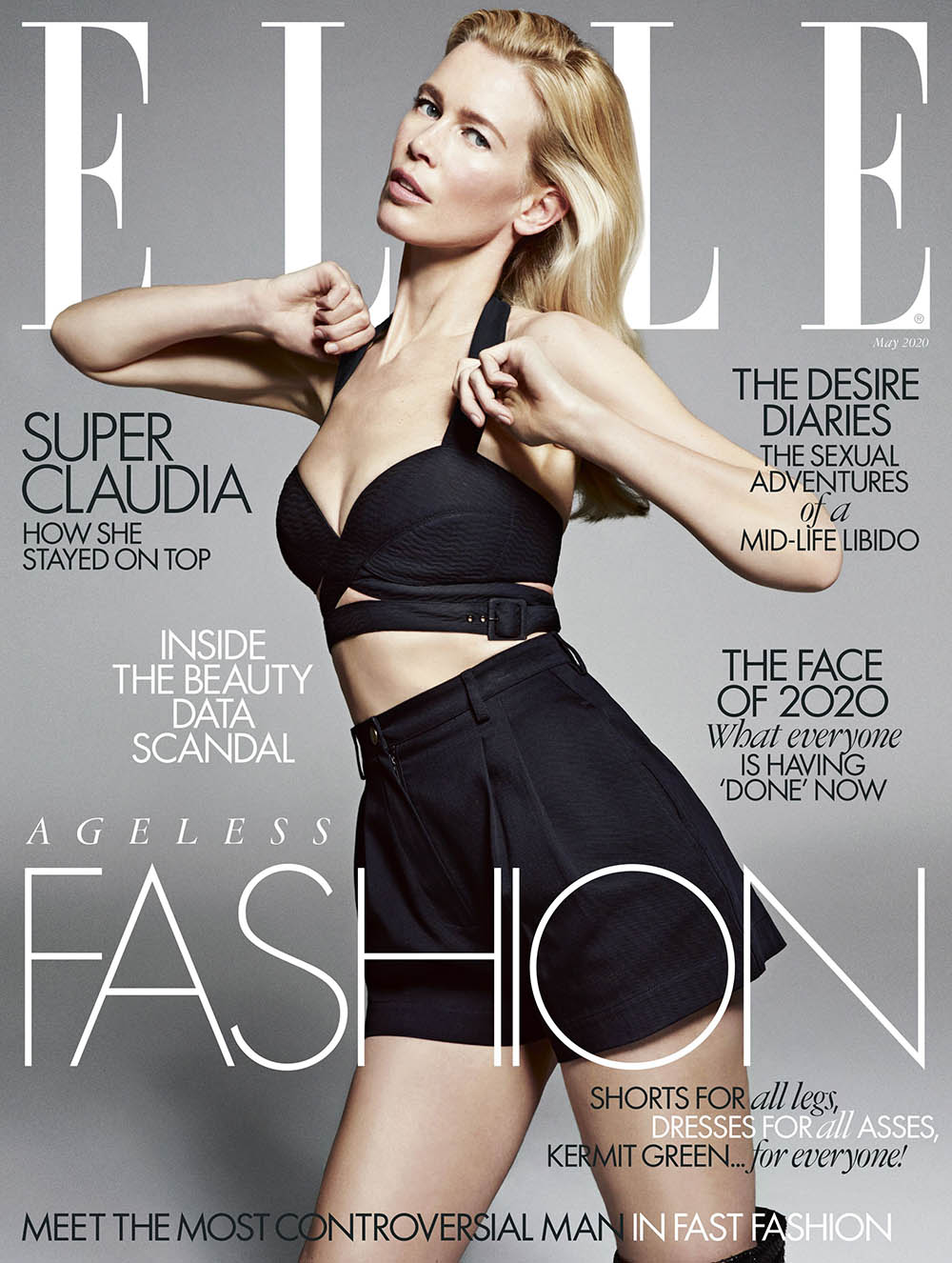 Claudia Schiffer covers Elle UK May 2020 by Sebastian Kim