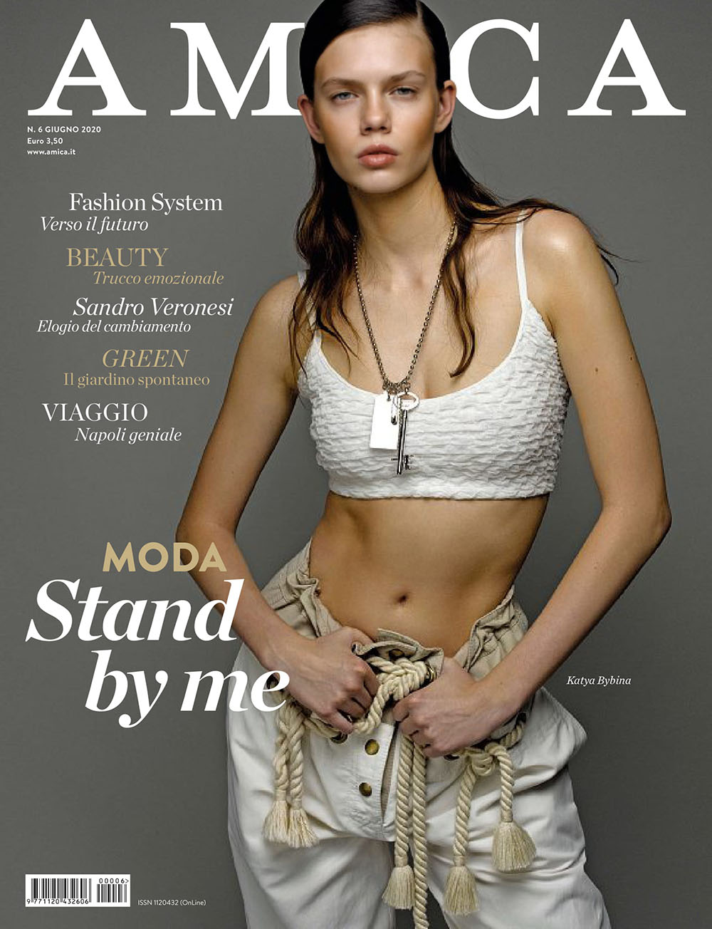 Katya Bybina covers Amica Magazine June 2020 by Philippe Cometti