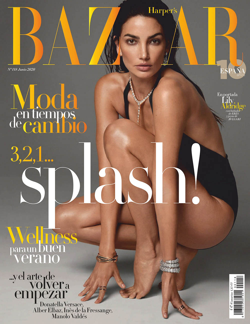 Lily Aldridge covers Harper's Bazaar Spain June 2020 by David Roemer