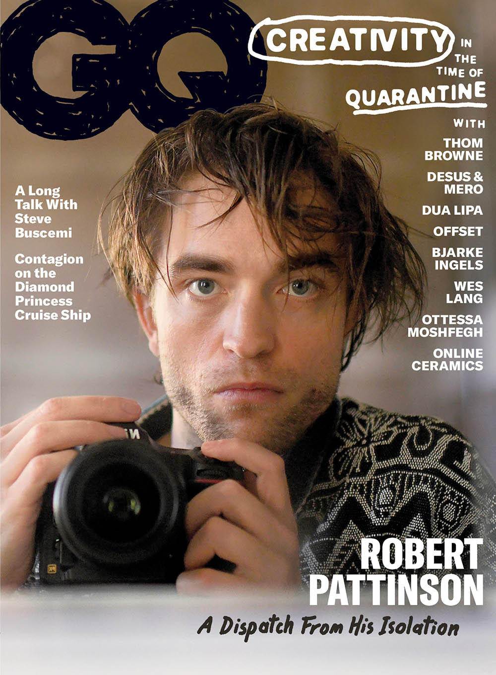 Robert Pattinson photographs himself for GQ USA June July 2020 cover
