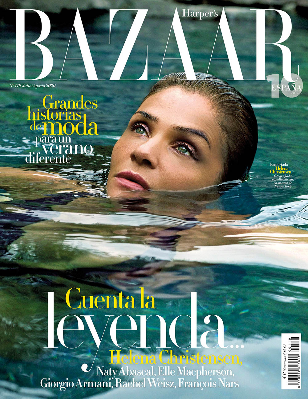 Helena Christensen covers Harper's Bazaar Spain July August 2020 by Helena Christensen