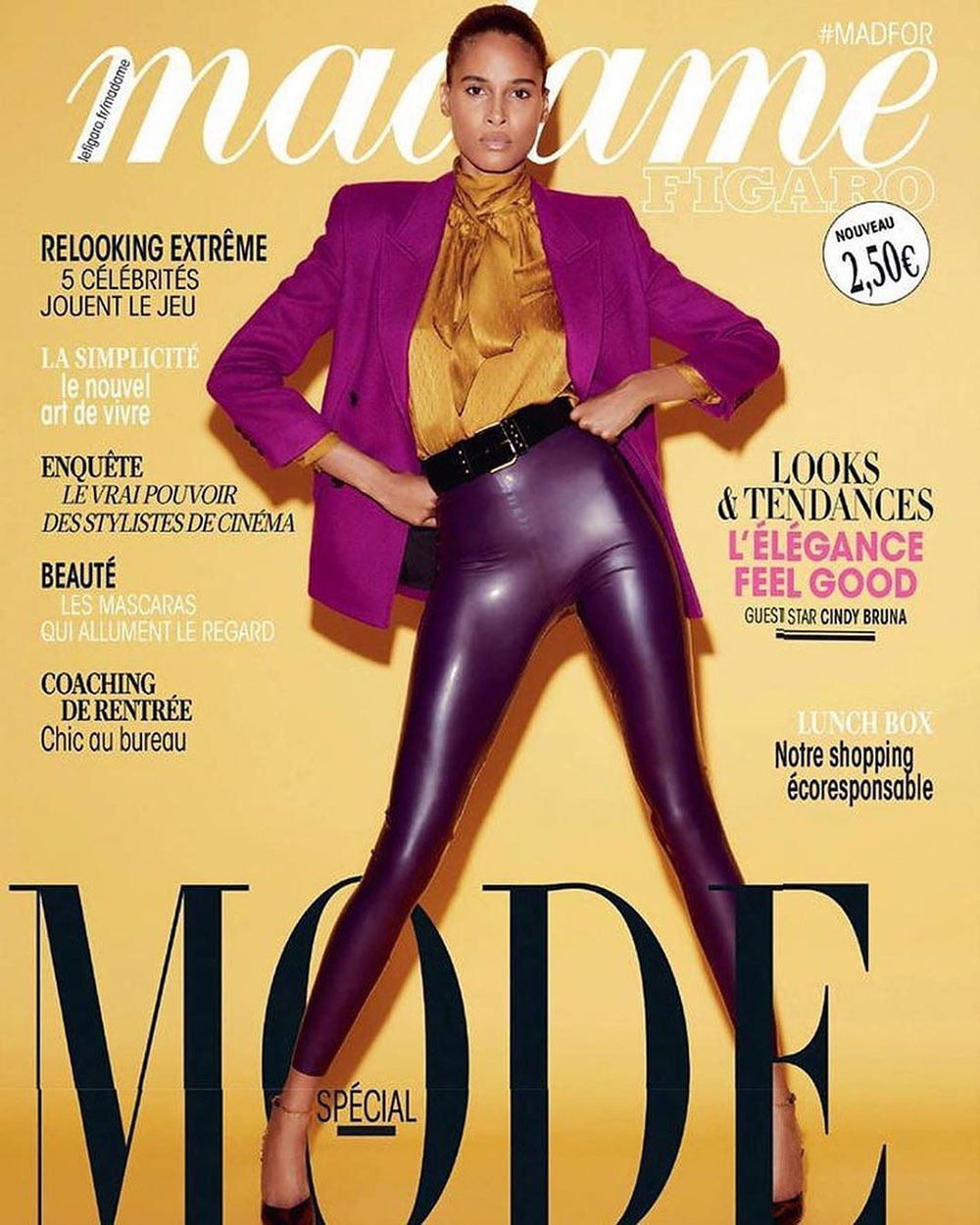 Cindy Bruna covers Madame Figaro August 28th, 2020 by Marcin Tyszka