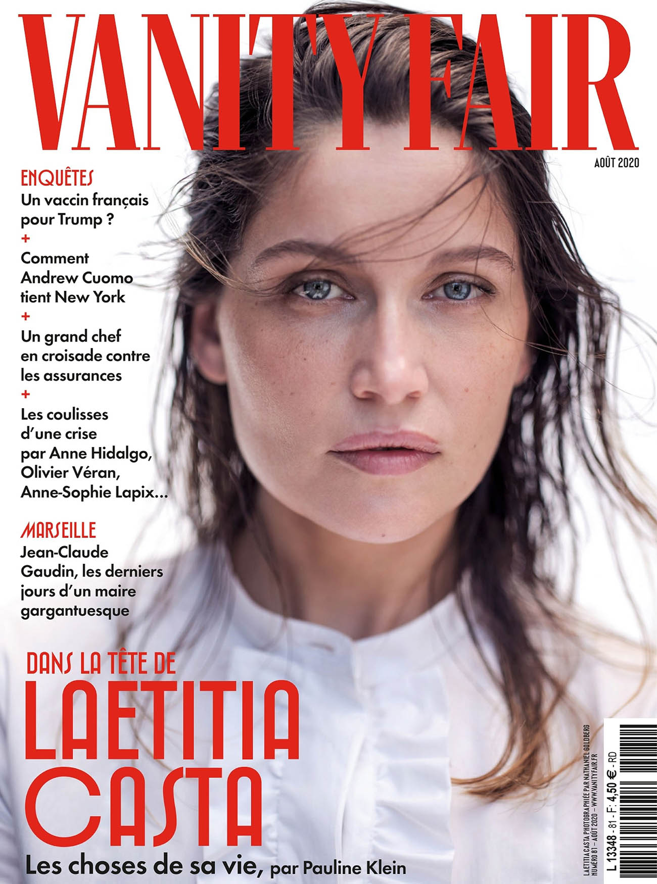 Laetitia Casta covers Vanity Fair France August 2020 by Nathaniel Goldberg
