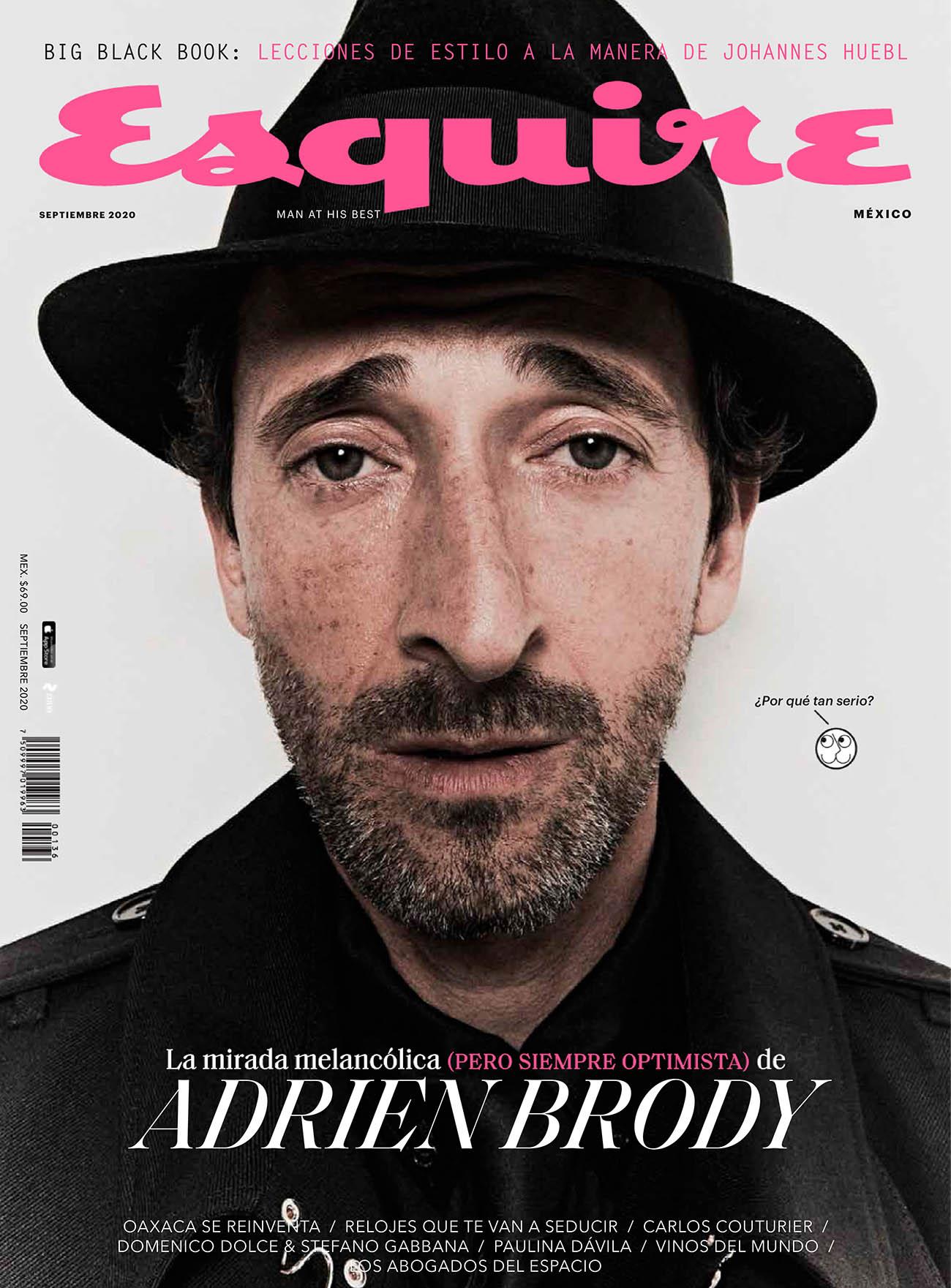 Adrien Brody covers Esquire Mexico September 2020 by Cesar Balcazar