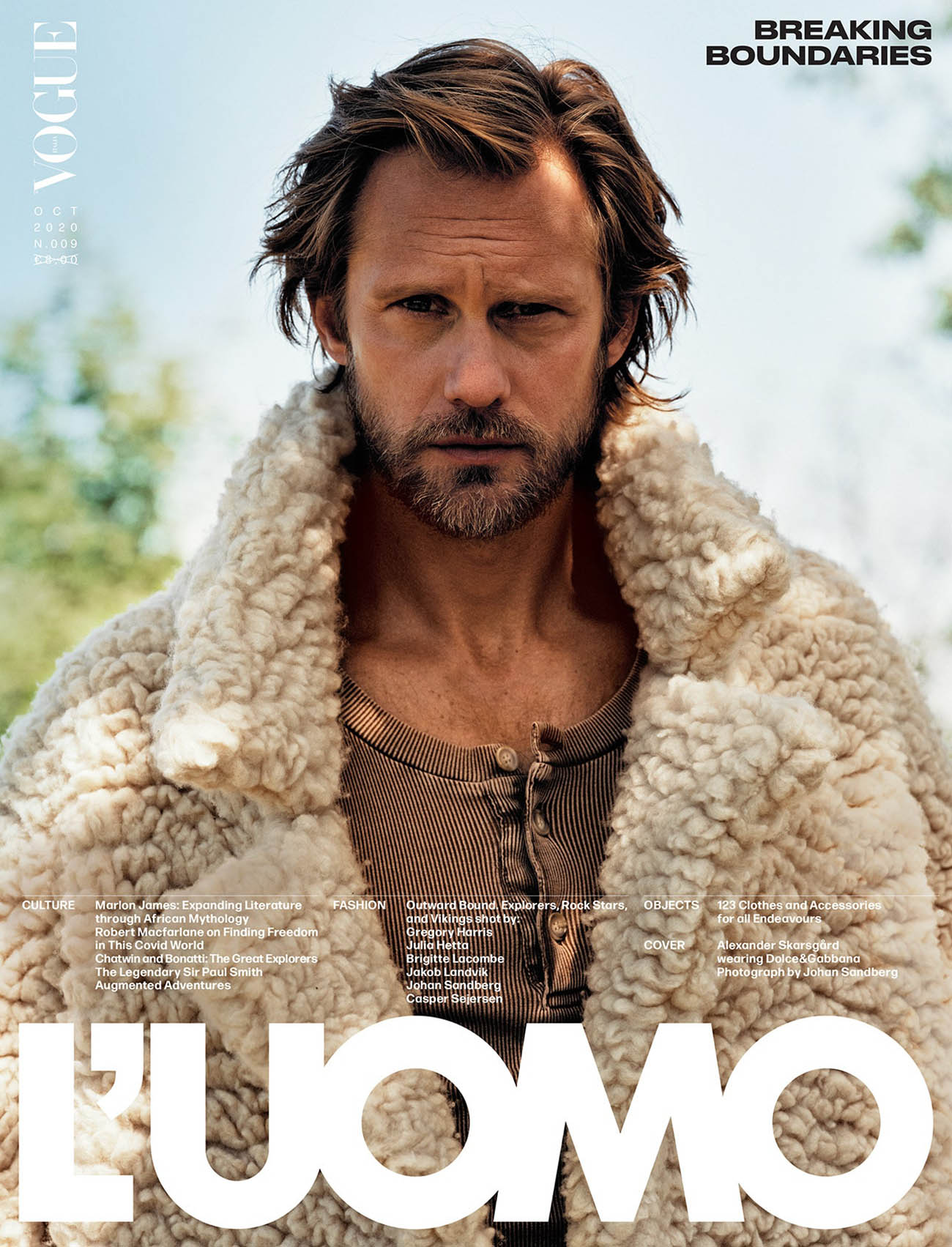 Alexander Skarsgård covers L'Uomo Vogue October 2020 by Johan Sandberg