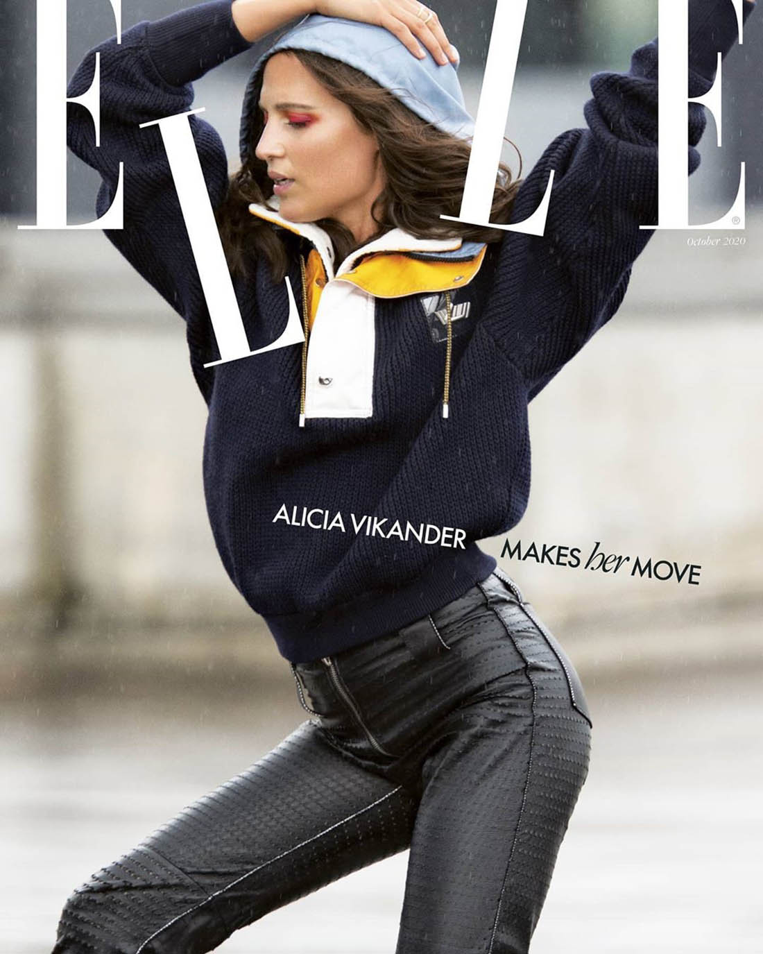 Alicia Vikander covers Elle UK October 2020 by Hans Feurer