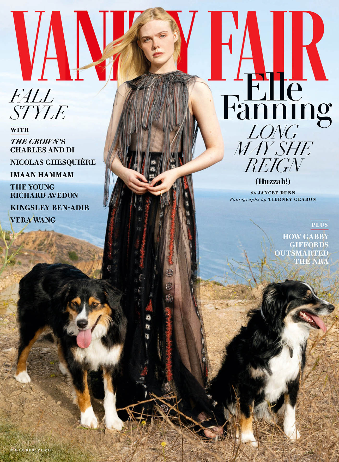 Elle Fanning covers Vanity Fair October 2020 by Tierney Gearon