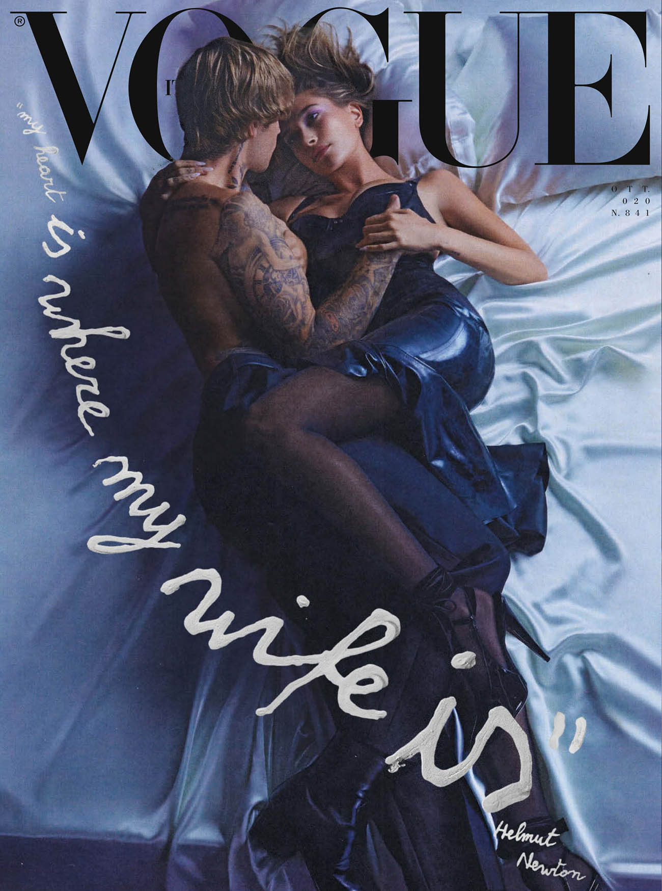 Justin and Hailey Bieber cover Vogue Italia October 2020 by Eli Russell Linnetz