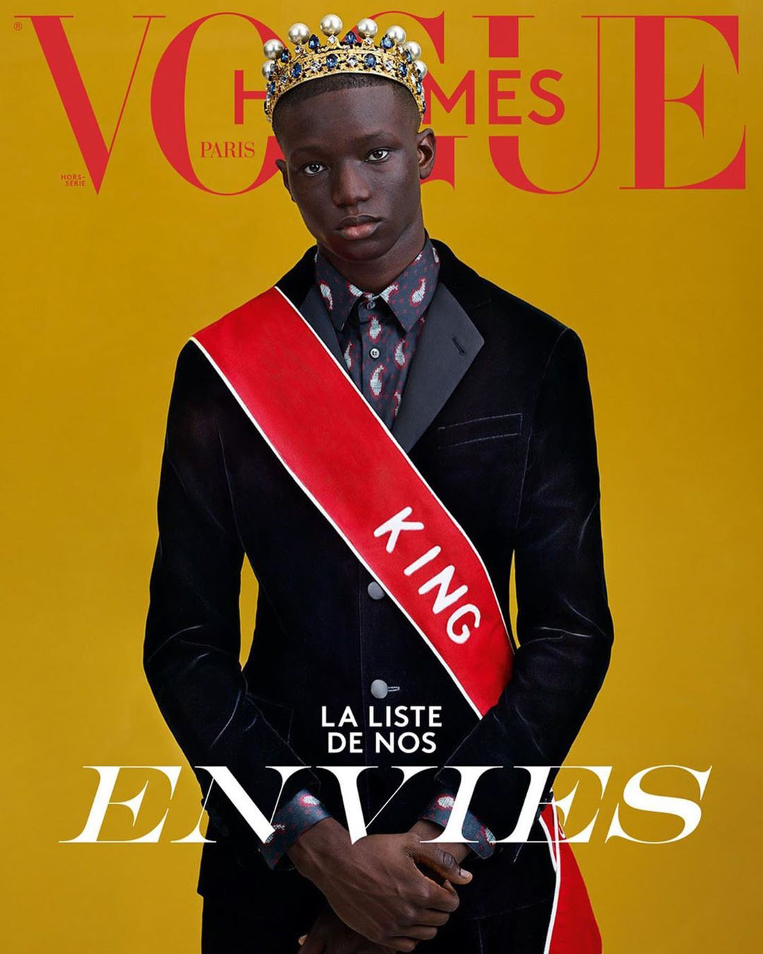 Mahamadou Diaoune covers Vogue Hommes Paris Fall Winter 2020 by Craig McDean