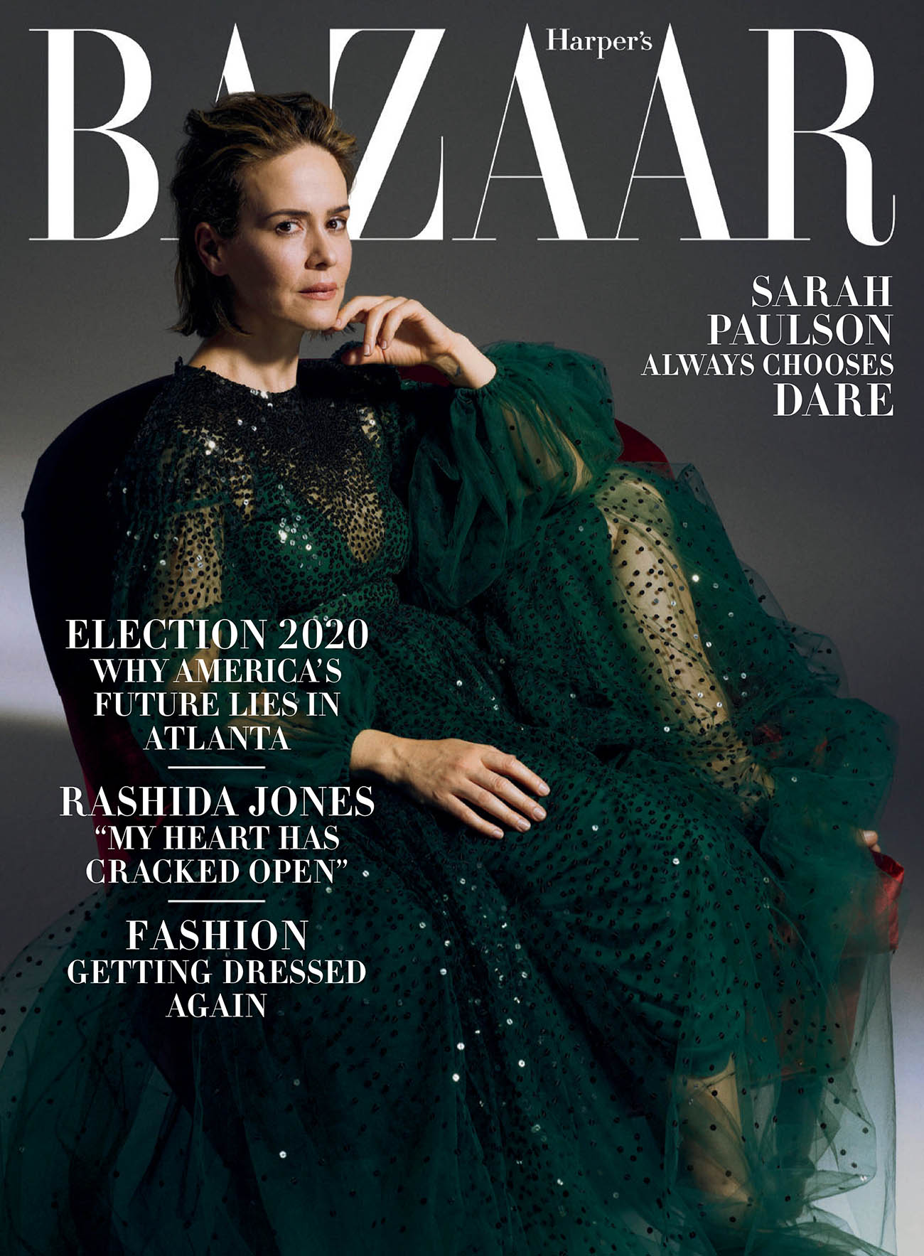 Sarah Paulson covers Harper's Bazaar US October 2020 by Sam Taylor-Johnson