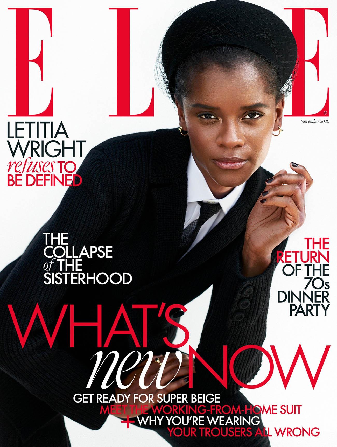 Letitia Wright covers Elle UK November 2020 by Marcin Kempski