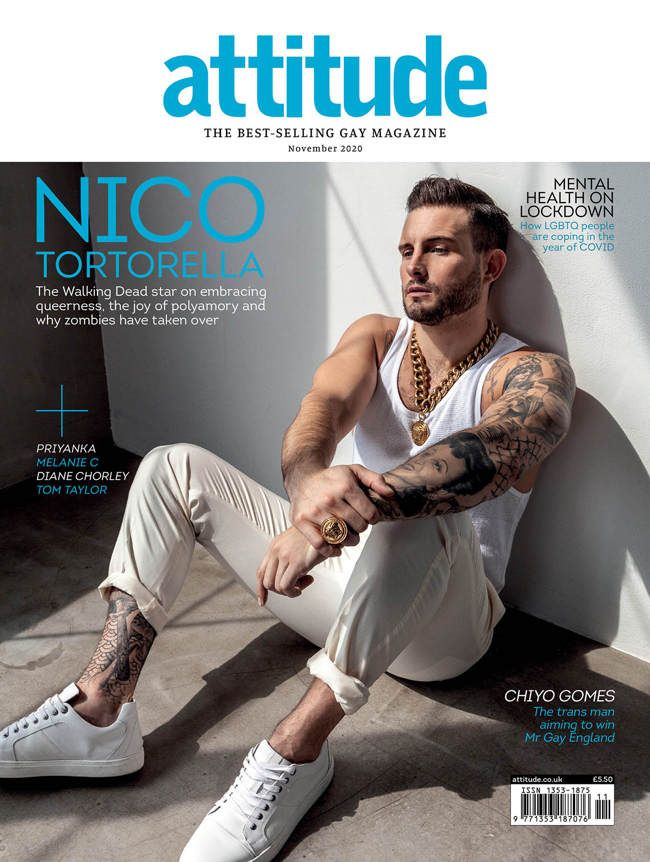 Nico Tortorella covers Attitude Magazine November 2020 by Harol Baez