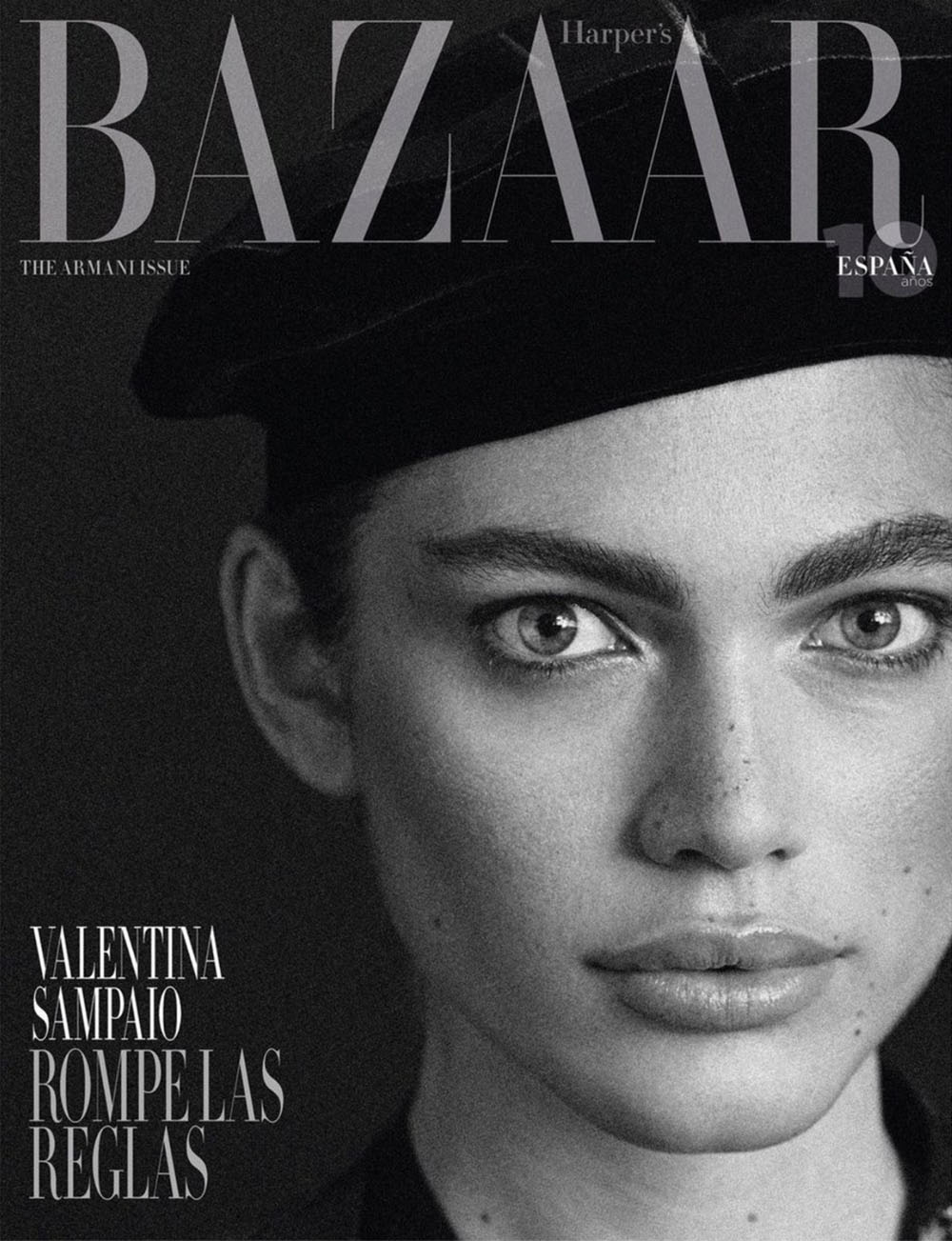 Valentina Sampaio and Giorgio Armani cover Harper's Bazaar Spain November 2020 by Xavi Gordo
