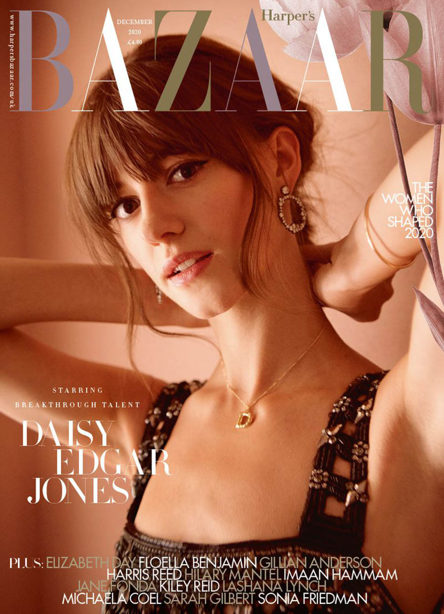 Daisy Edgar-Jones covers Harper's Bazaar UK December 2020 by Tom Craig