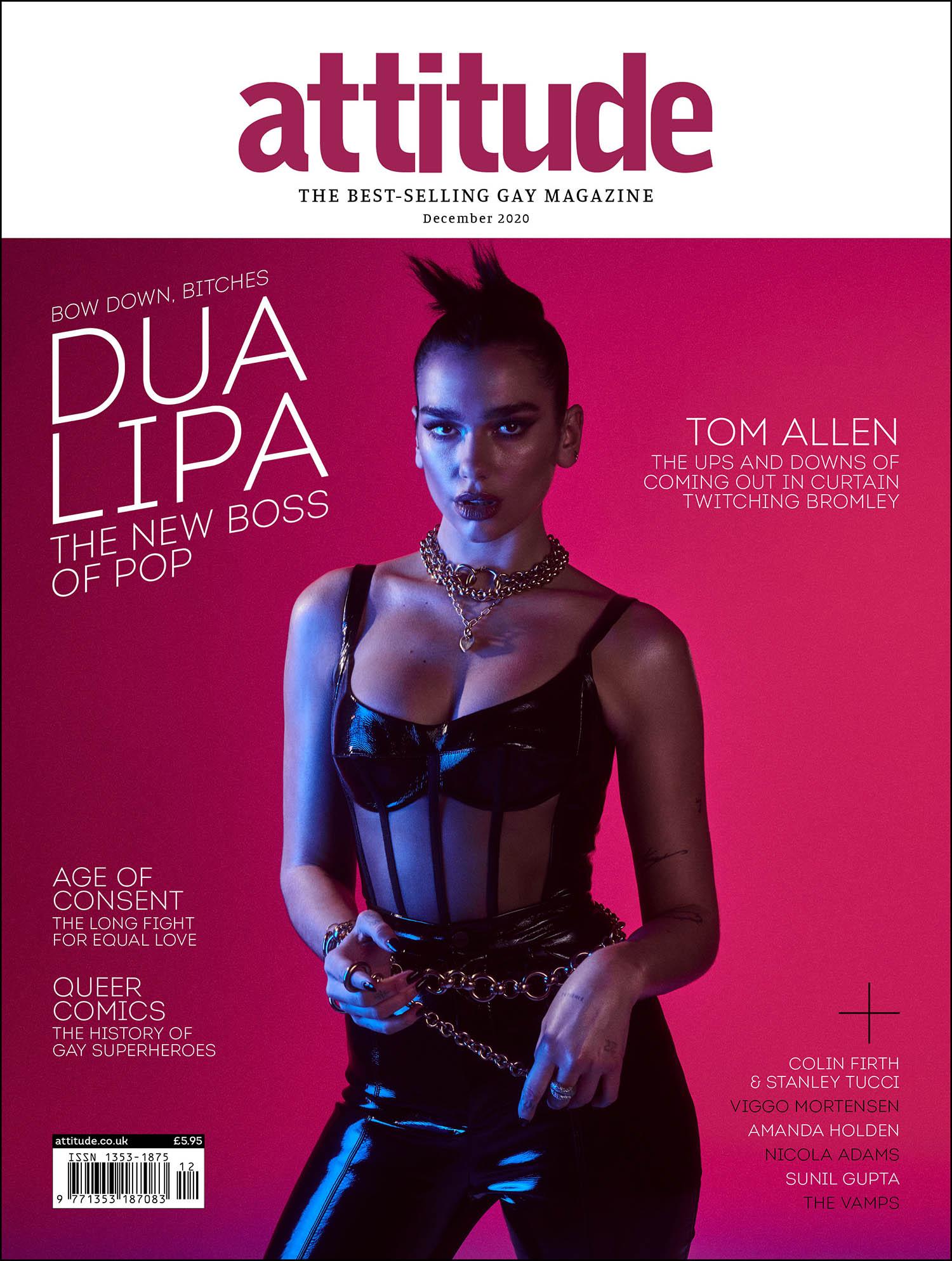 Dua Lipa covers Attitude Magazine December 2020 by Jonas Bresnan