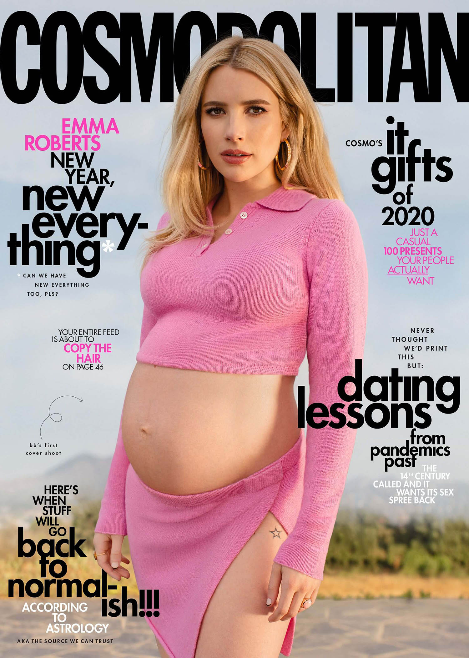Emma Roberts covers Cosmopolitan US December 2020 January 2021 by Sasha Samsonova