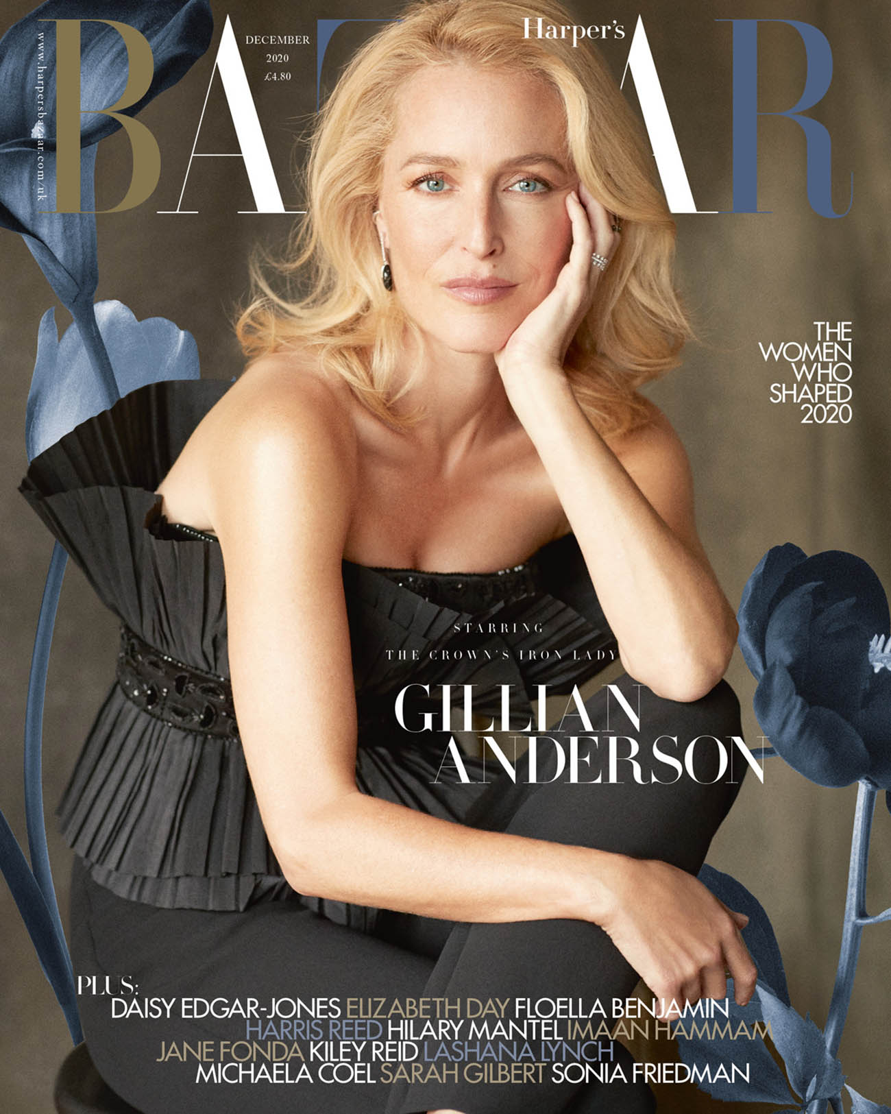Gillian Anderson covers Harper's Bazaar UK December 2020 by Richard Phibbs