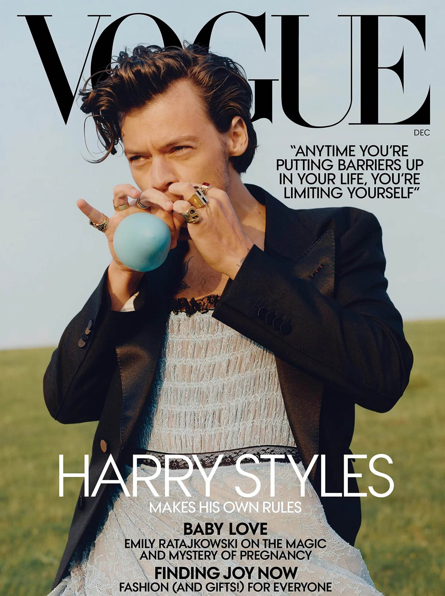 Harry Styles covers Vogue US December 2020 by Tyler Mitchell