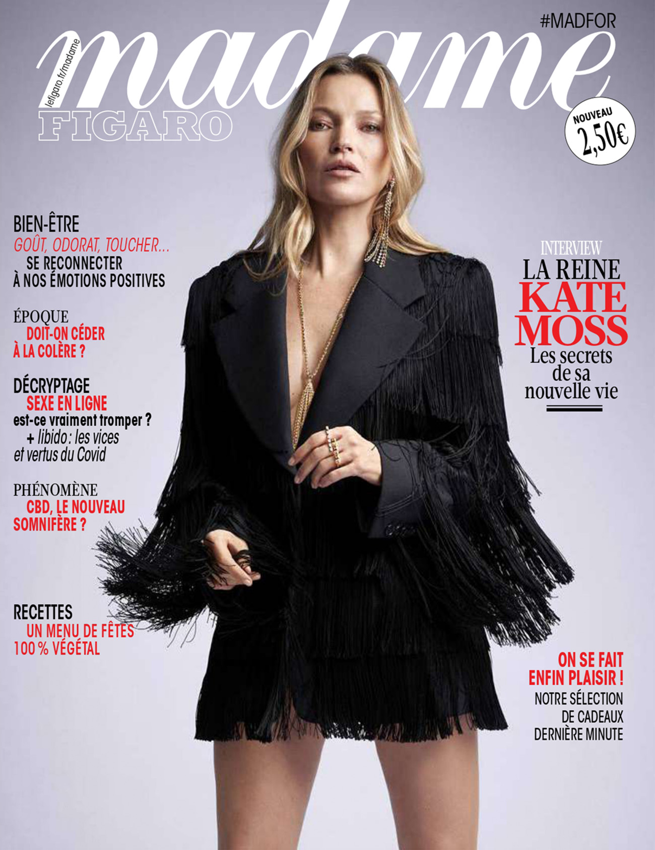 Kate Moss covers Madame Figaro December 4th, 2020 by Fred Meylan