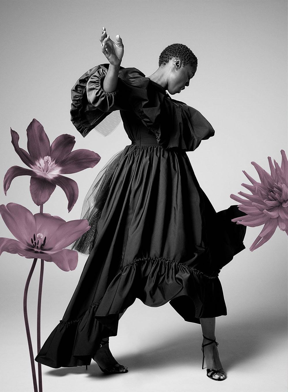 Lashana Lynch covers Harper's Bazaar UK December 2020 by Richard Phibbs