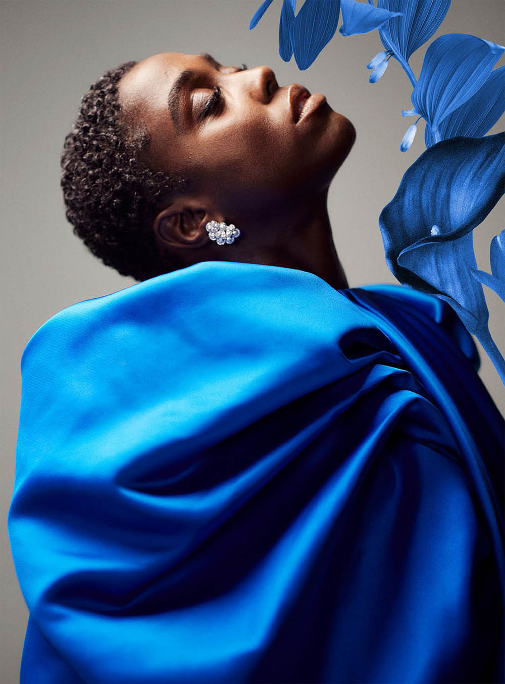 Lashana Lynch covers Harper's Bazaar UK December 2020 by Richard Phibbs