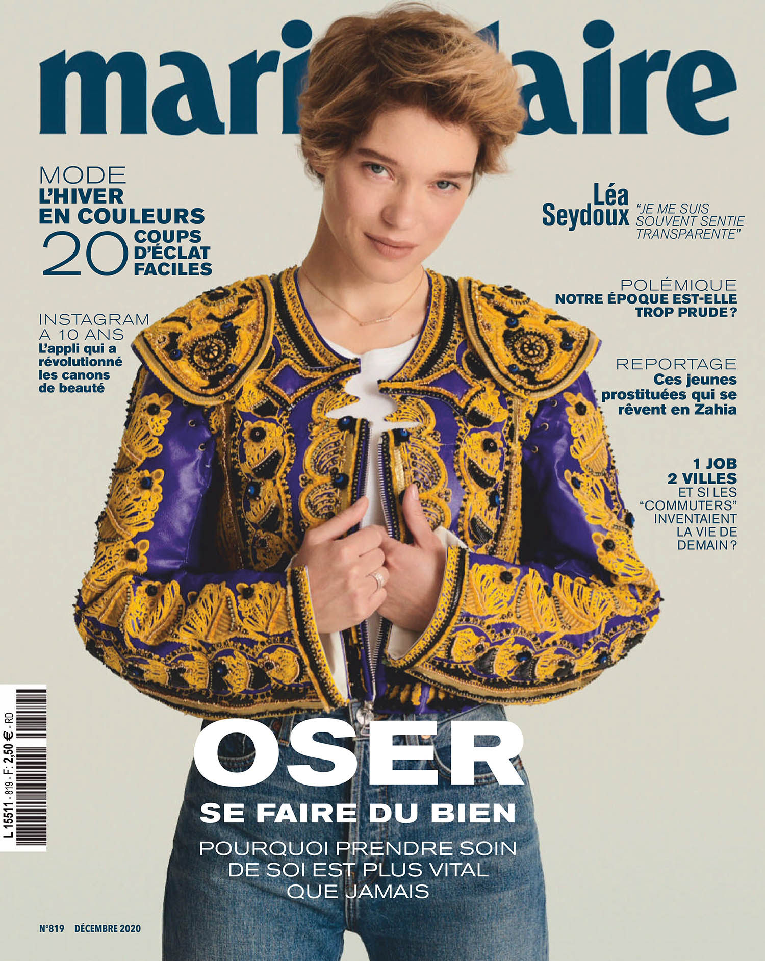 Léa Seydoux covers Marie Claire France December 2020 by Philip Gay