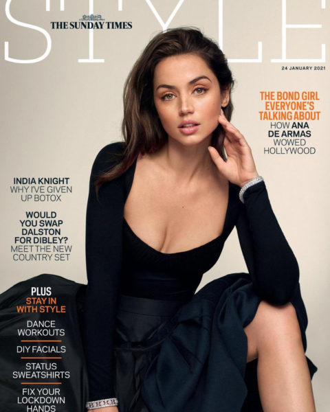 Ana de Armas covers The Sunday Times Style January 24th, 2021 by Thomas Whiteside