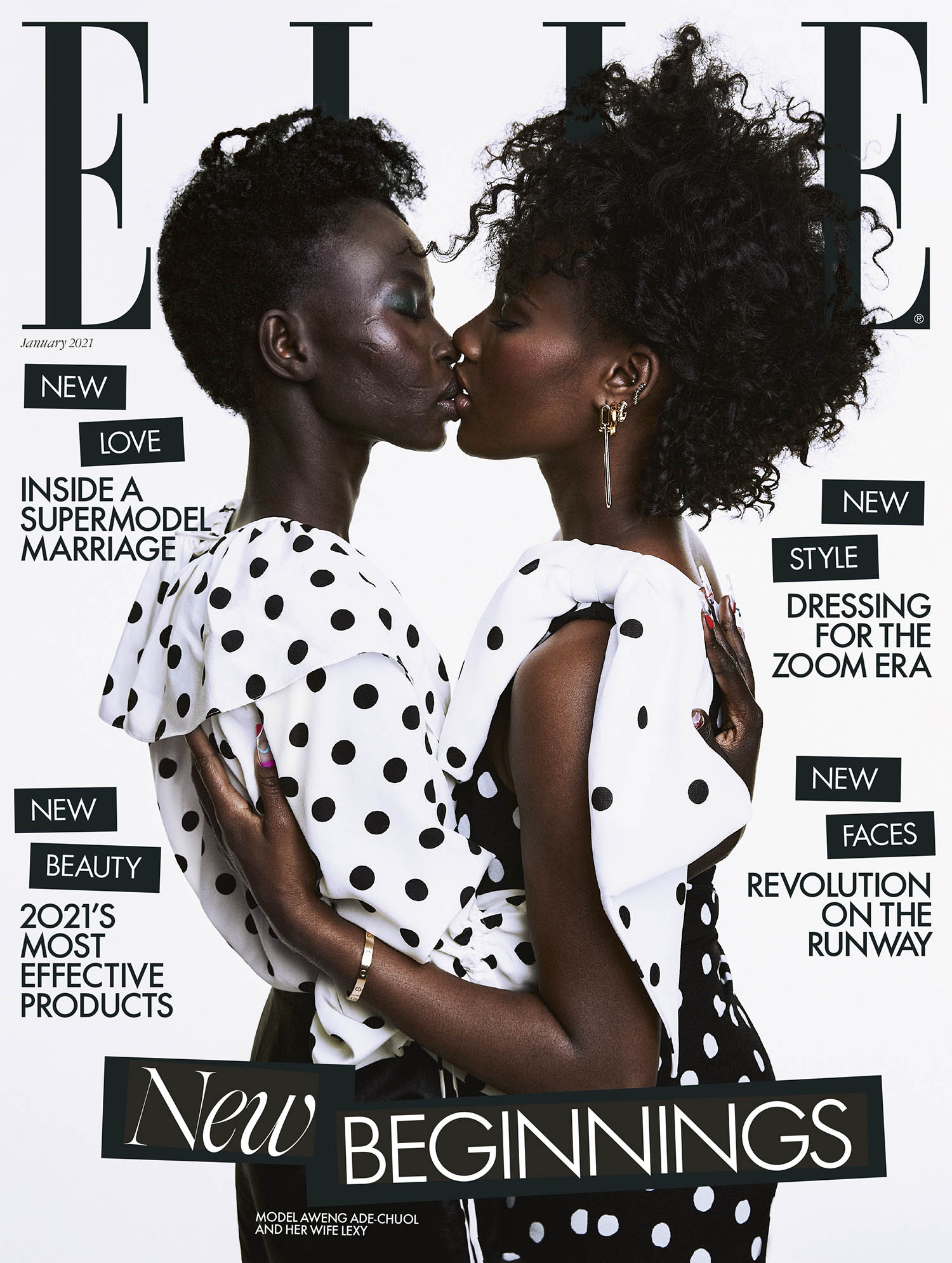 Aweng and Lexy Ade-Chuol cover Elle UK January 2021 by Meinke Klein