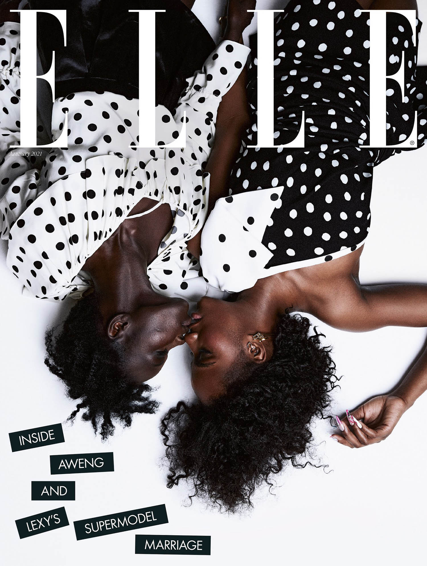 Aweng and Lexy Ade-Choul cover Elle UK January 2021 by Meinke Klein