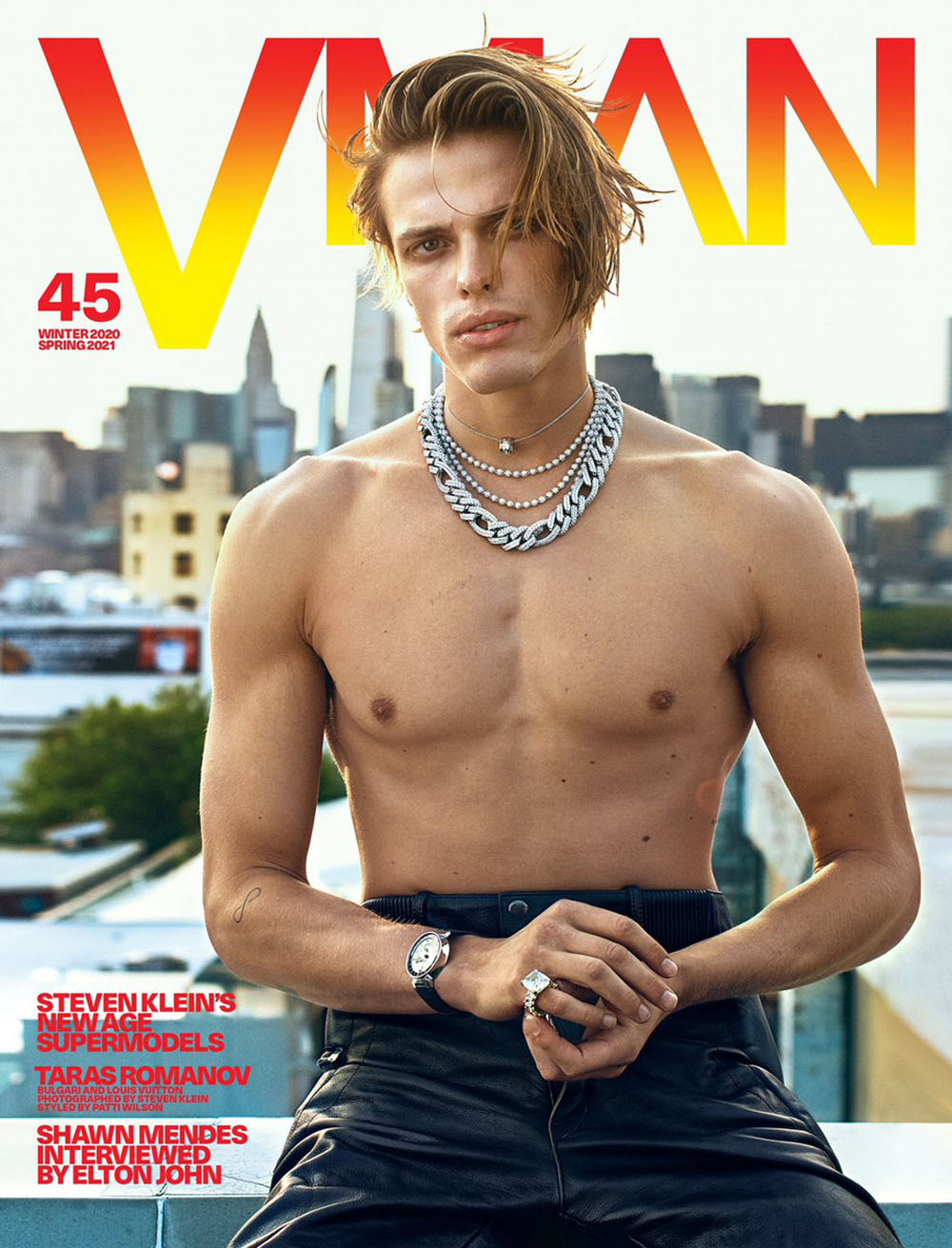 Taras Romanov covers VMan Winter 2020 Spring 2021 by Steven Klein