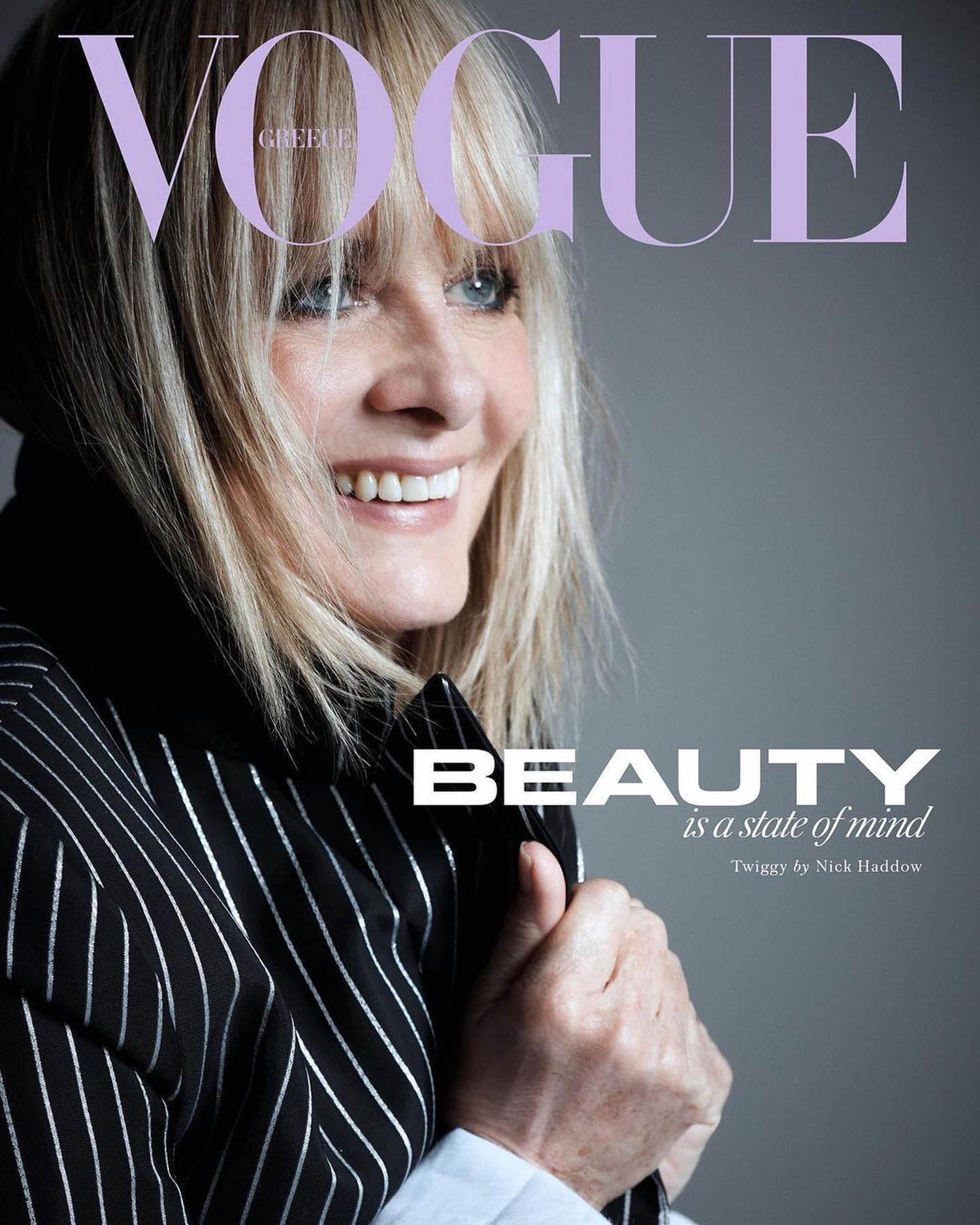 Twiggy covers Vogue Greece January February 2021 by Nick Haddow