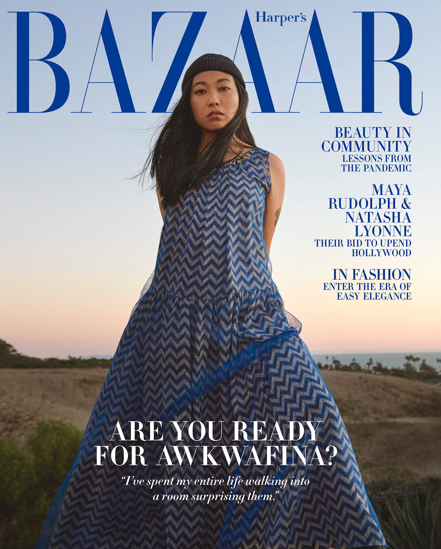 Awkwafina covers Harper's Bazaar US February 2021 by Ryan McGinley