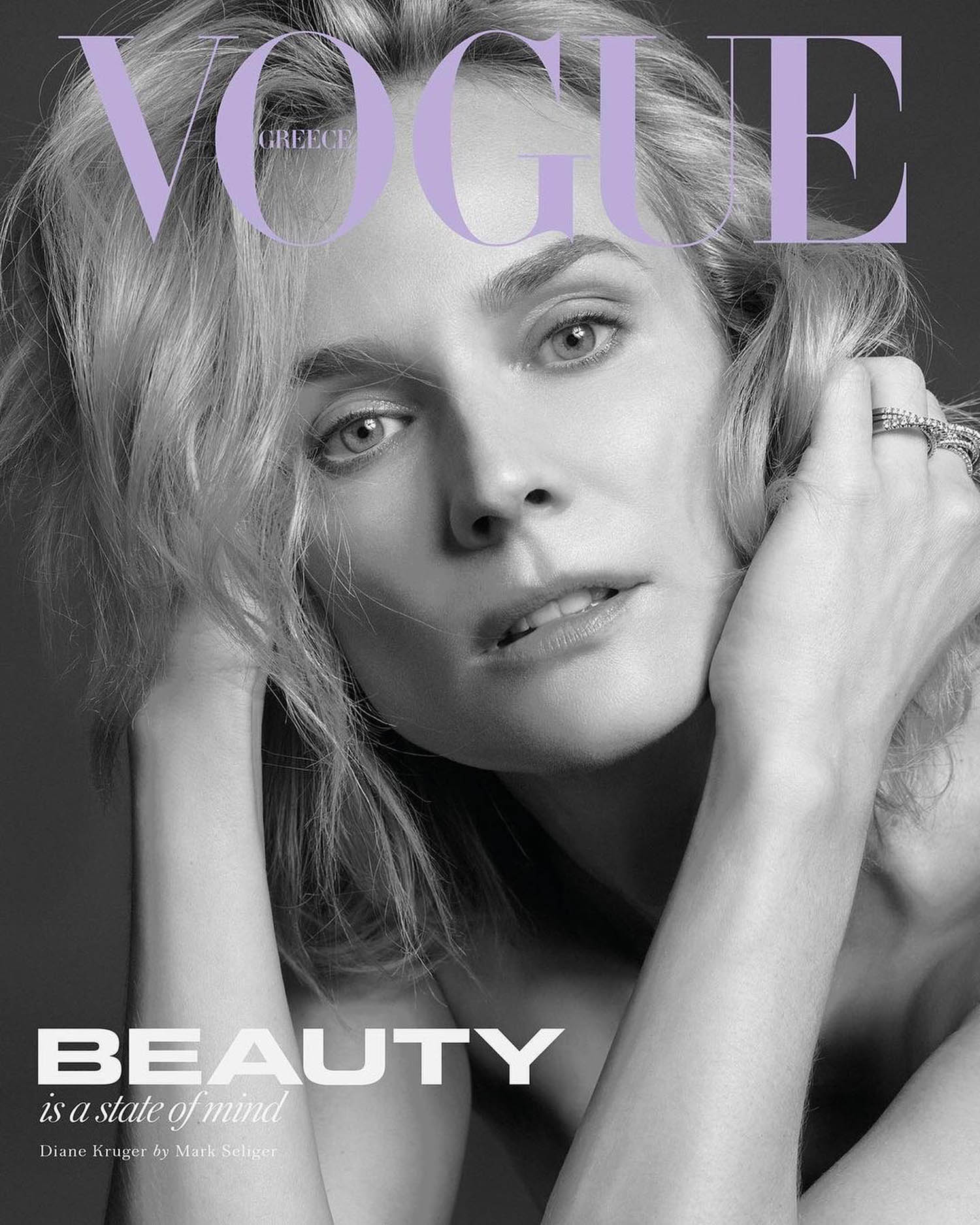 Diane Kruger covers Vogue Greece January February 2021 by Mark Seliger