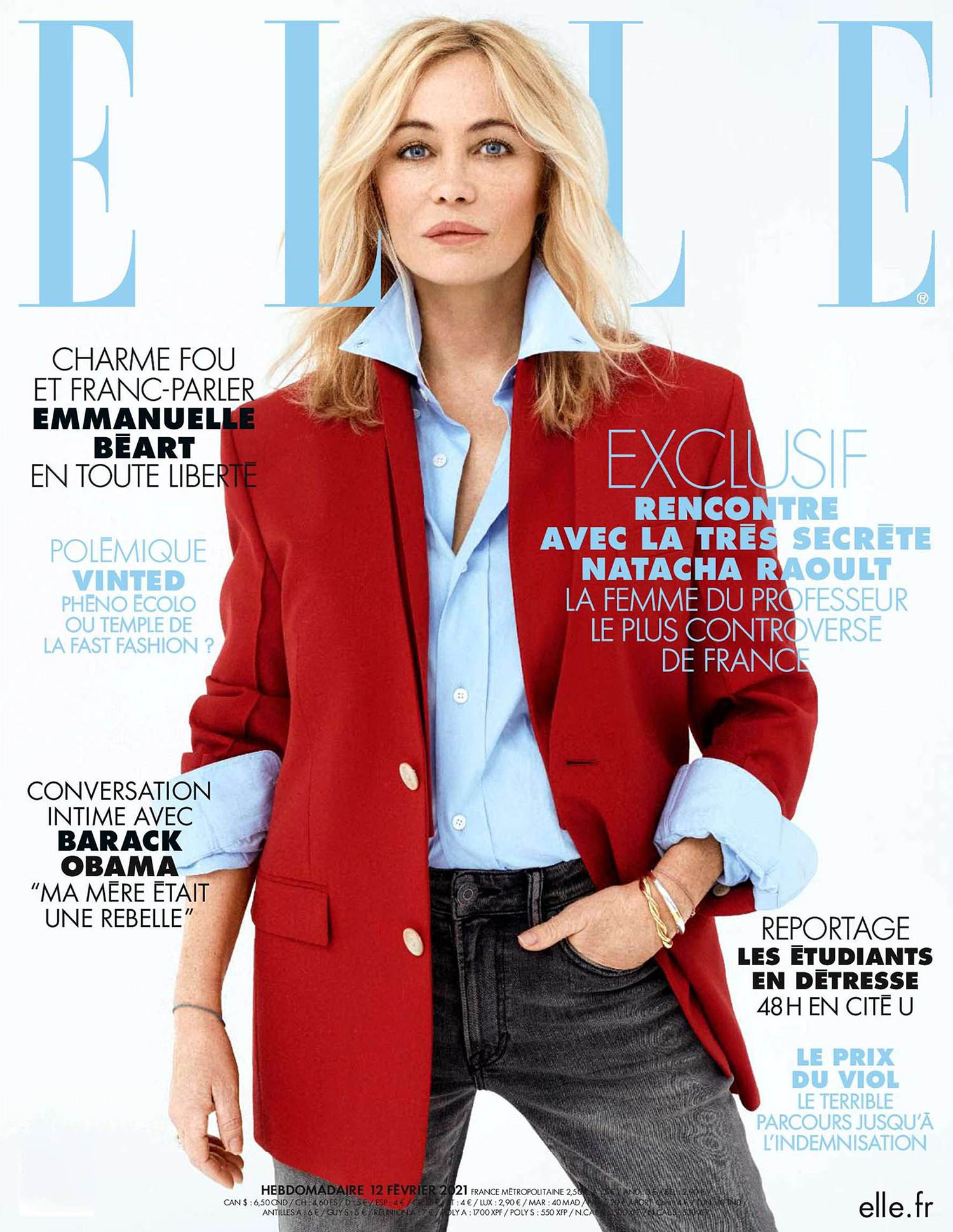 Emmanuelle Béart covers Elle France February 12th, 2021 by Dant Studio