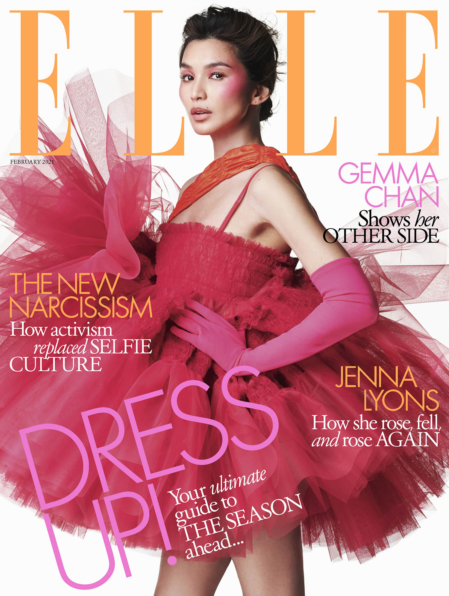Gemma Chan covers Elle UK February 2021 by Marcin Kempski