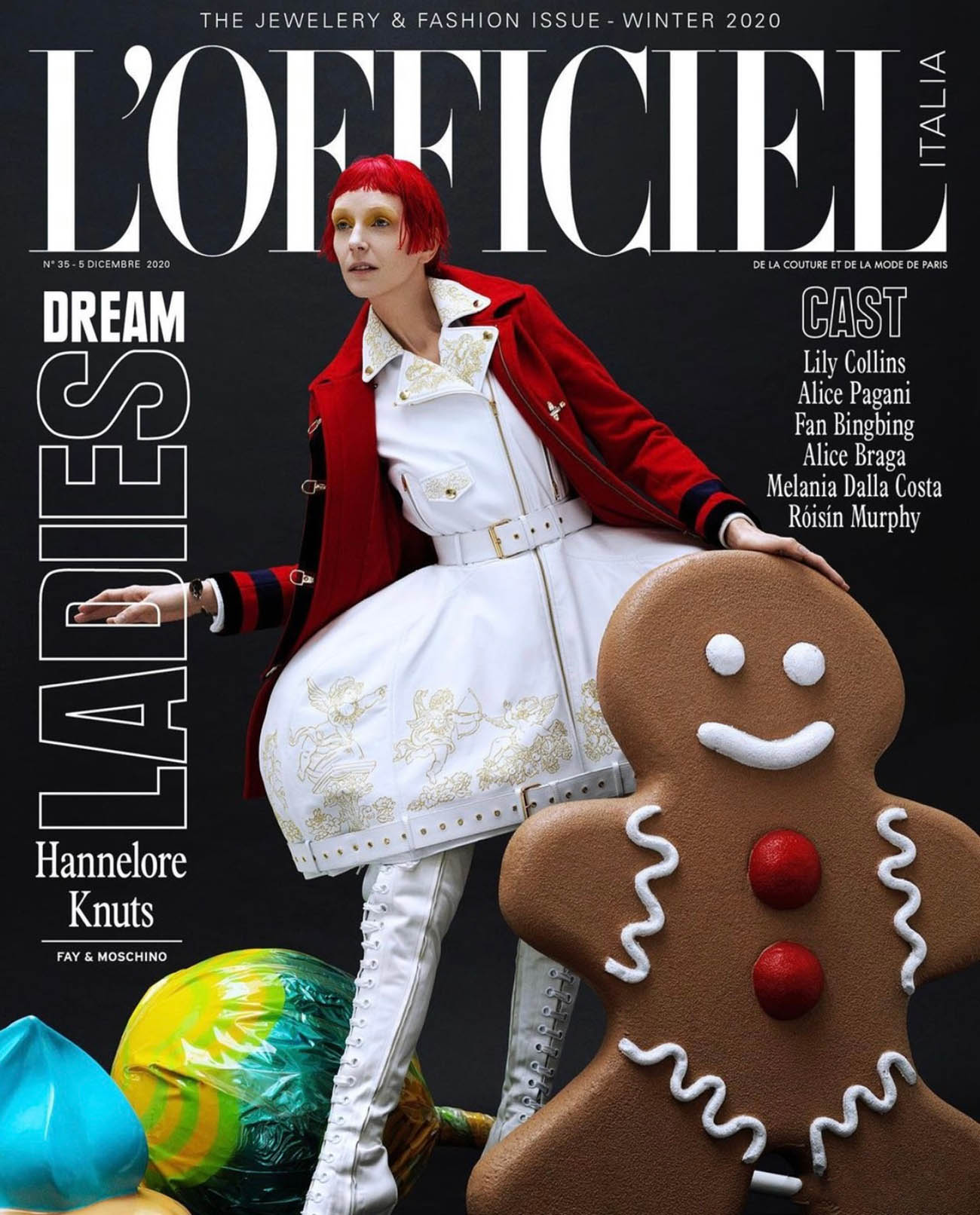 Hannelore Knuts covers L'Officiel Italia Issue 35 by Domen & Van de Velde