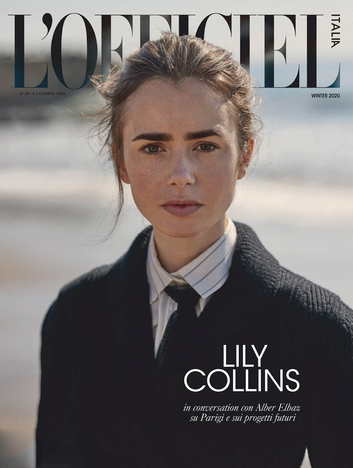 Lily Collins covers L'Officiel Global Winter 2020 by Sam Taylor Johnson