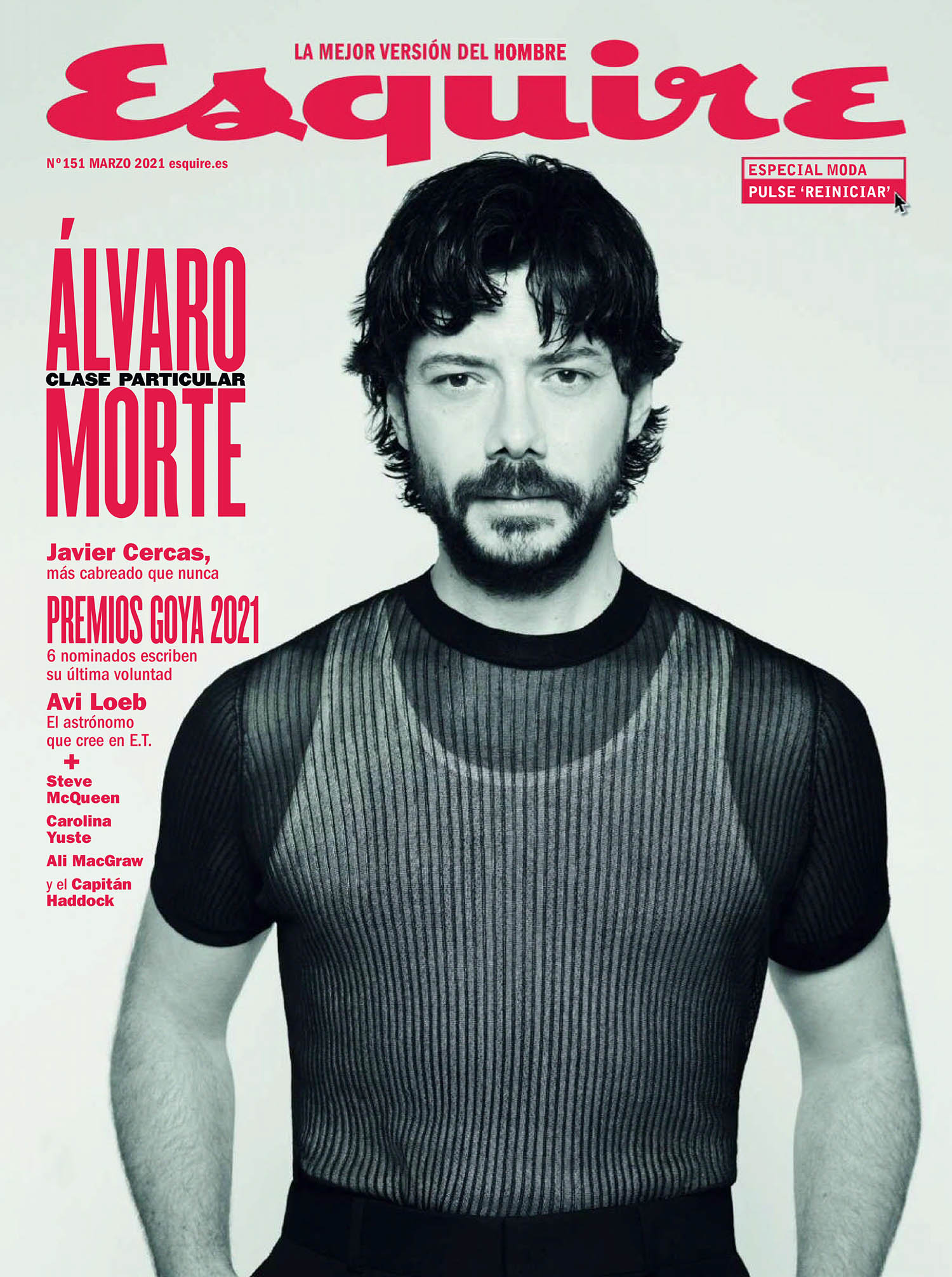 Álvaro Morte covers Esquire Spain March 2021 by Papo Waisman
