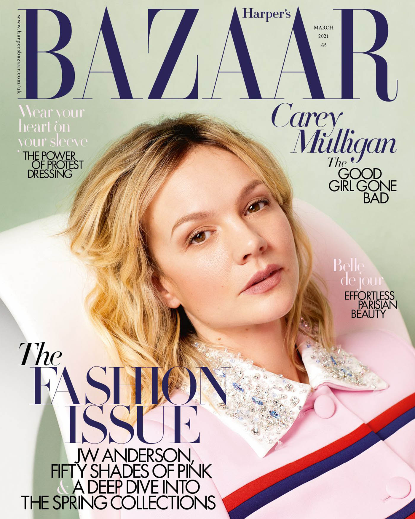 Carey Mulligan covers Harper's Bazaar UK March 2021 by Quentin Jones
