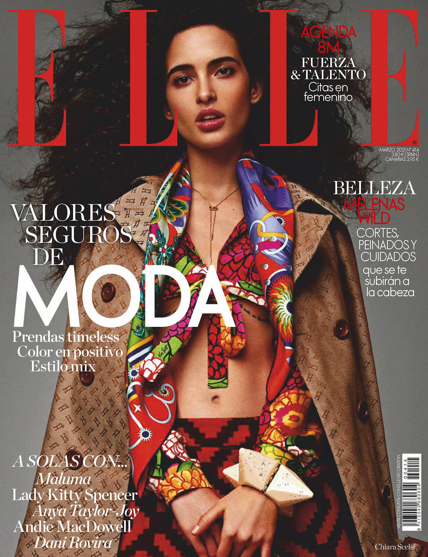 Chiara Scelsi covers Elle Spain March 2021 by Javier Lopez