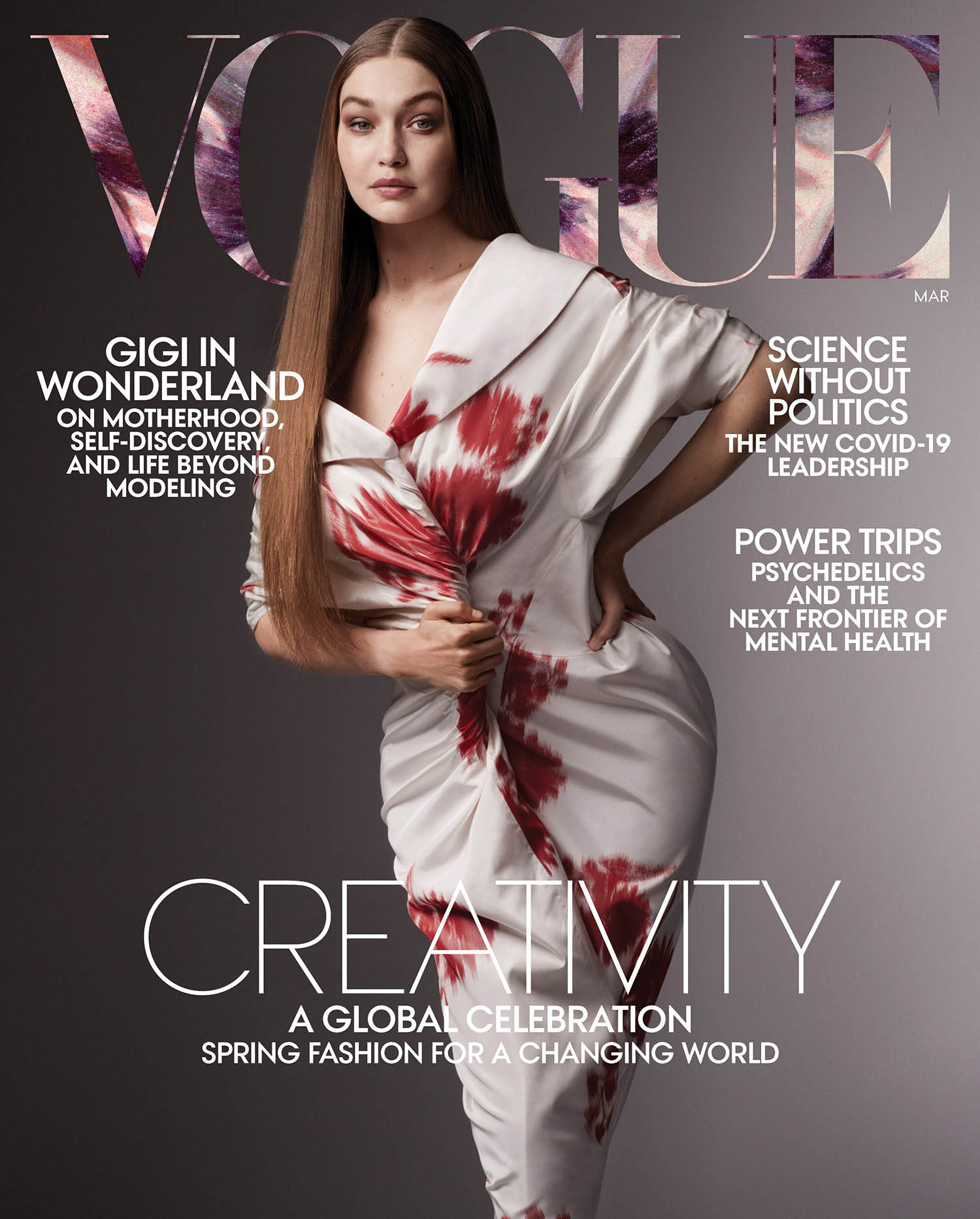 Gigi Hadid covers Vogue US March 2021 by Ethan James Green